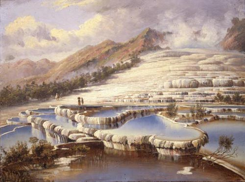 Oil painting of the White Terraces, Lake Rotomahana, by Charles Blomfield, 1888