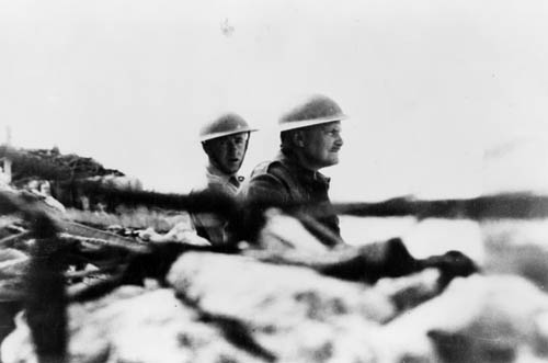 Bernard Cyril Freyberg (right) and his aide-de-camp, Jack Griffiths, during the battle for Crete, May 1941
