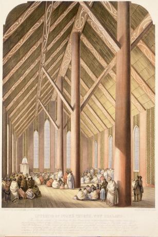 Rangiātea Church, Ōtaki, from a sketch by Charles Barraud