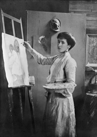 Frances Hodgkins at her easel