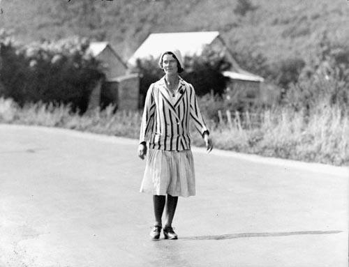 Esther Marion Pretoria James on her walk from Spirits Bay to Stewart Island, 1931-32