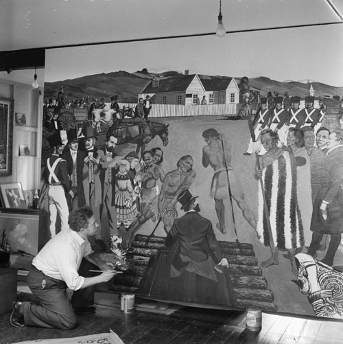 Leonard Mitchell painting a mural, 1950s