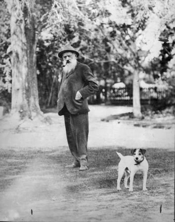 William Nelson with his dog at Tomoana, about 1931