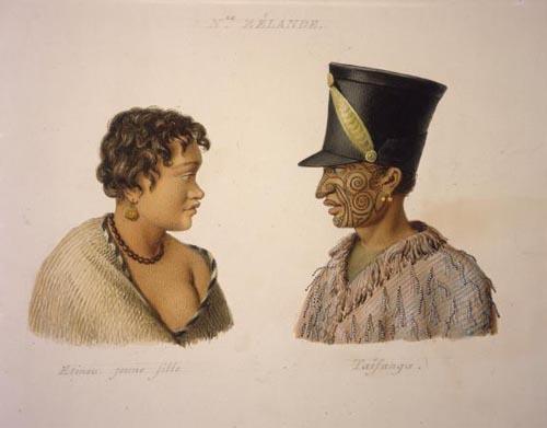 Rāwiri Taiwhanga (right) and an unidentified woman