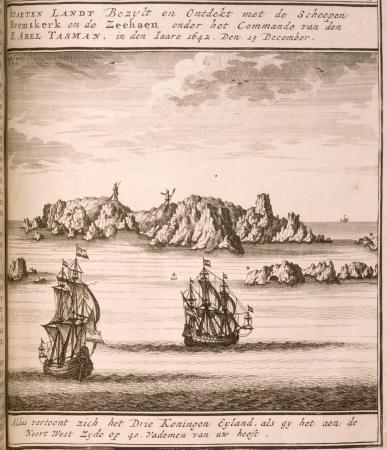 Abel Janszoon Tasman's ships close to the Three Kings Islands