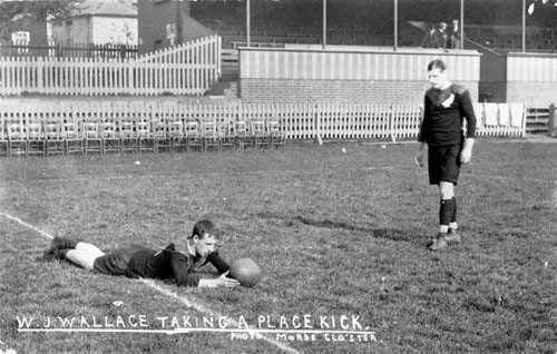 Ace rugby player William Joseph Wallace (right) lines up a goal kick