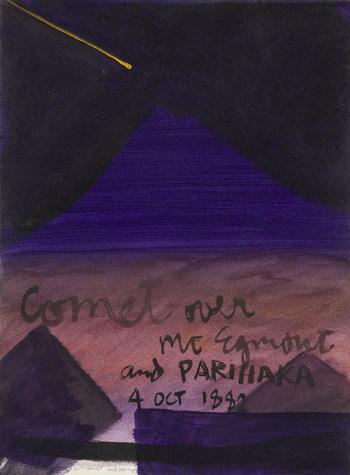 'Comet over Mt Taranaki and Parihaka'