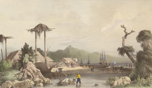 Ships in Otago Harbour, 1840