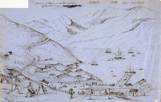 'Landing of passengers at Port Lyttelton'