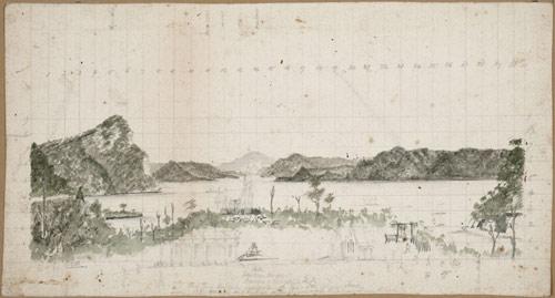 Military camp at Lake Waikaremoana, 1869