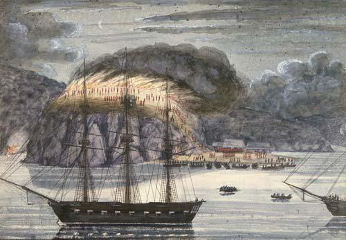 Destruction of a pā, Bay of Islands