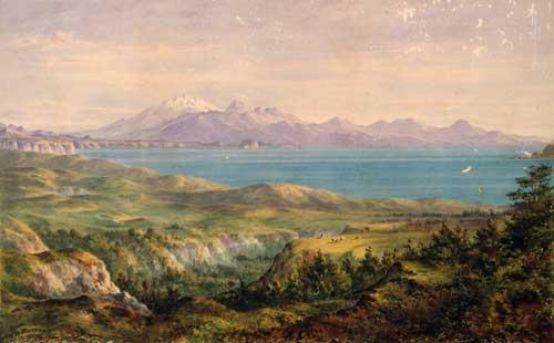Lake Taupō and volcanic peaks
