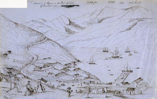 'Landing of passengers at Port Lyttelton'