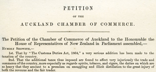 Petition of the Auckland Chamber of Commerce, 1865