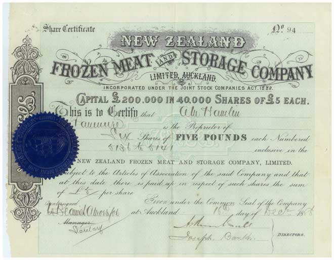 Frozen meat company share certificate