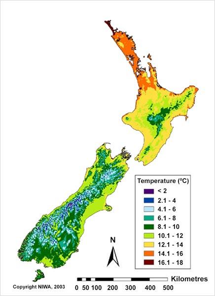 Mean annual temperatures, 1971–2000