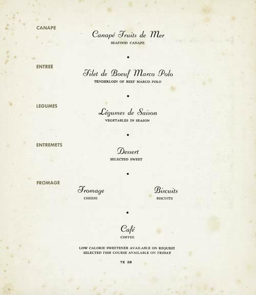 Qantas Airways menu, c. 1959