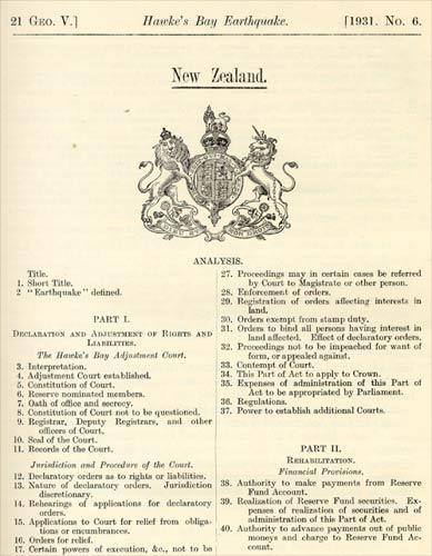 The Hawke's Bay Earthquake Act 1931