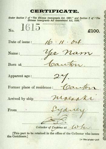 Poll tax certificate
