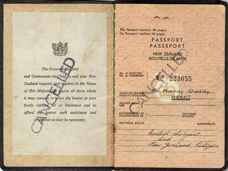 A New Zealand passport, 1964