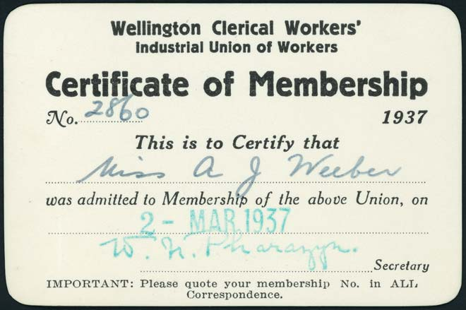 Clerical Workers union card