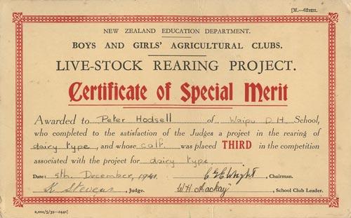 certificate of special merit agricultural education te ara