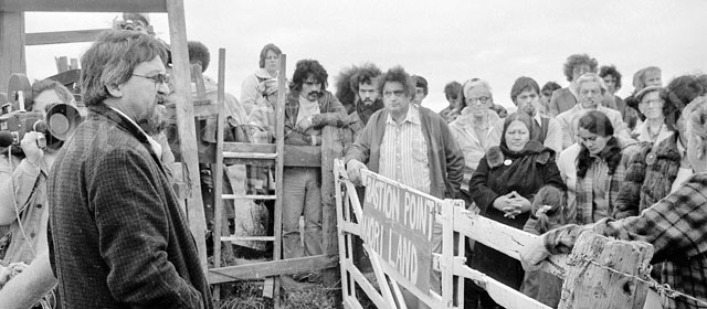 Land activist Joe Hawke and followers at Bastion Point, 1978