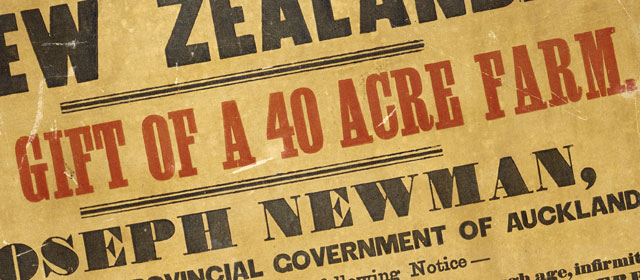 From an 1858 poster offering land in New Zealand to UK emigrants