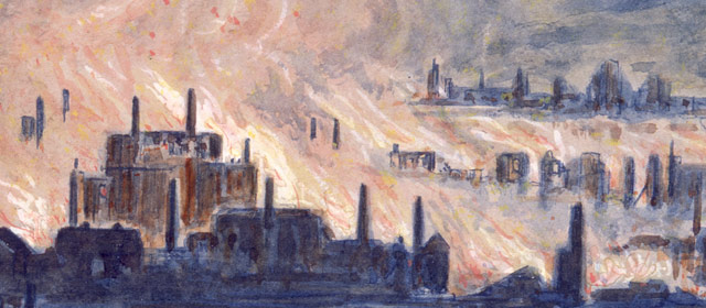 Painting of the Lyttelton fire of 1870, by J. Sanderson