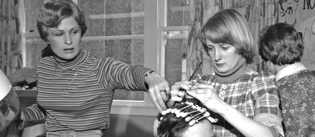 Hairdressing apprentice, 1976