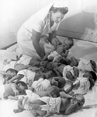 Matron with babies, Wellington Bethany home, 1969