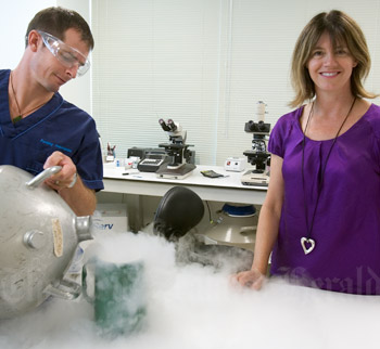 Dr Mary Birdsall and laboratory technician Adam Nancekivel of Fertility Associates