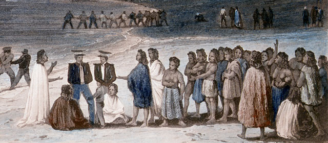 French sailors with Māori, Kororāreka, 1835