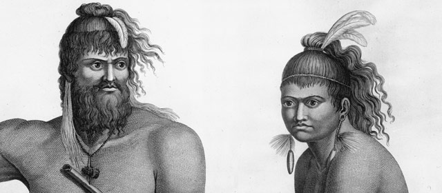 French portrait of Māori man and boy