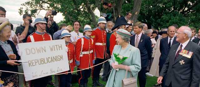 Queen Elizabeth II is greeted by Alf's Imperial Army, 1995