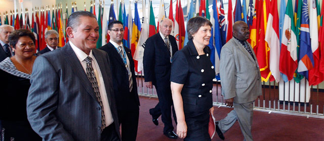 Helen Clark arrives at United Nations headquarters in New York, April 2009