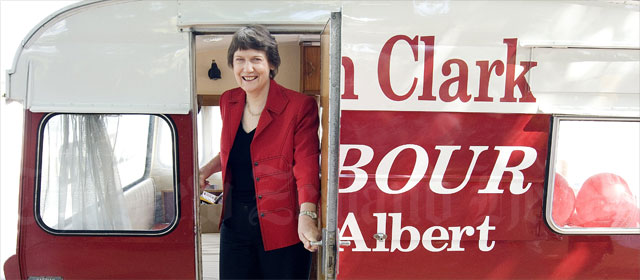 Helen Clark and her mobile electorate headquarters.