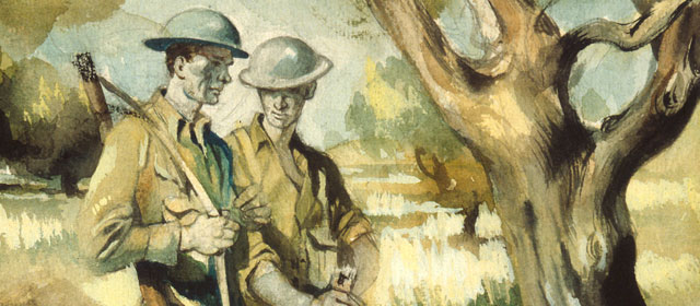 New Zealand soldiers near Maleme, on Crete, by official war artist Peter McIntyre