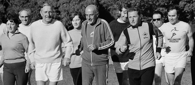 Coach Arthur Lydiard (age 56, at front right) with the Wellington Joggers' Club, 1974
