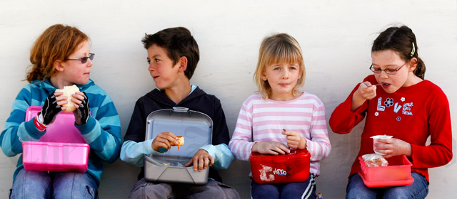 Eating school lunches, Windy Ridge School, Auckland, 2007