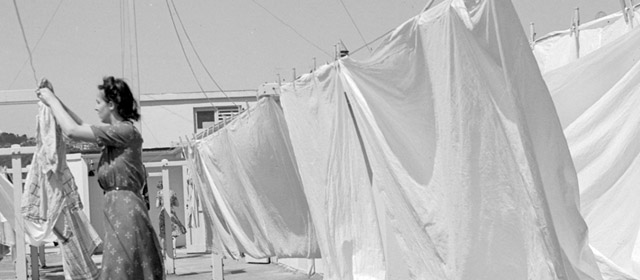 Rooftop washing line, Wellington, 1943