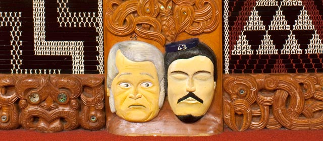 Governor George Bowen and Gustavus von Tempsky in a detail of a carved pou of Tītokowaru
