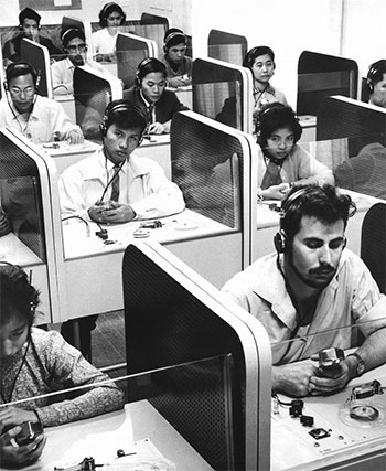 English-language students in a laboratory at Victoria University's English Language Institute
