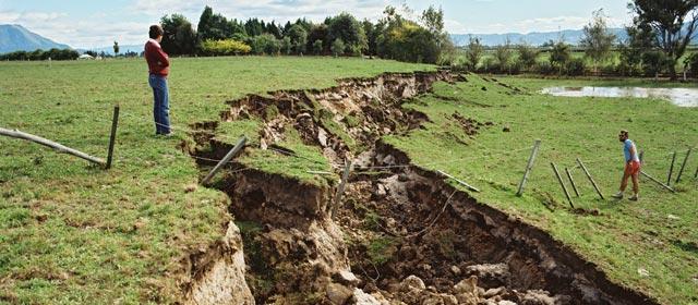 A rupture along a fault line