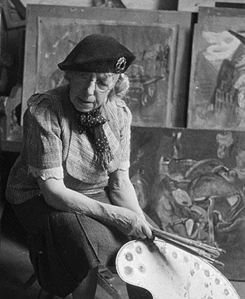 Artist Frances Hodgkins in Corfe Castle, Dorset, 1945