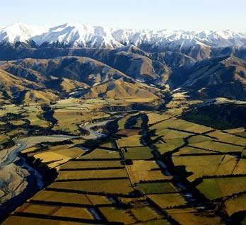 Canterbury farmland and mountains