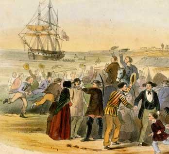 Settlers on the beach