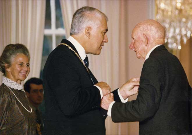 Receiving the Queen's Service Medal