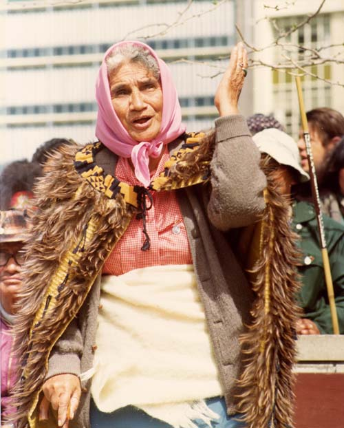 Whina Cooper addresses a crowd during the 1975 Māori land march