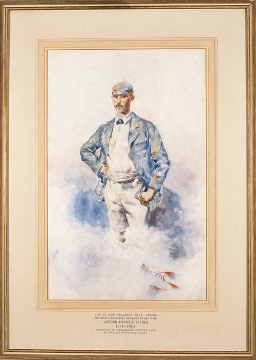 A painting of legendary cricketer Arthur Hadfield Fisher by Girolamo Nerli